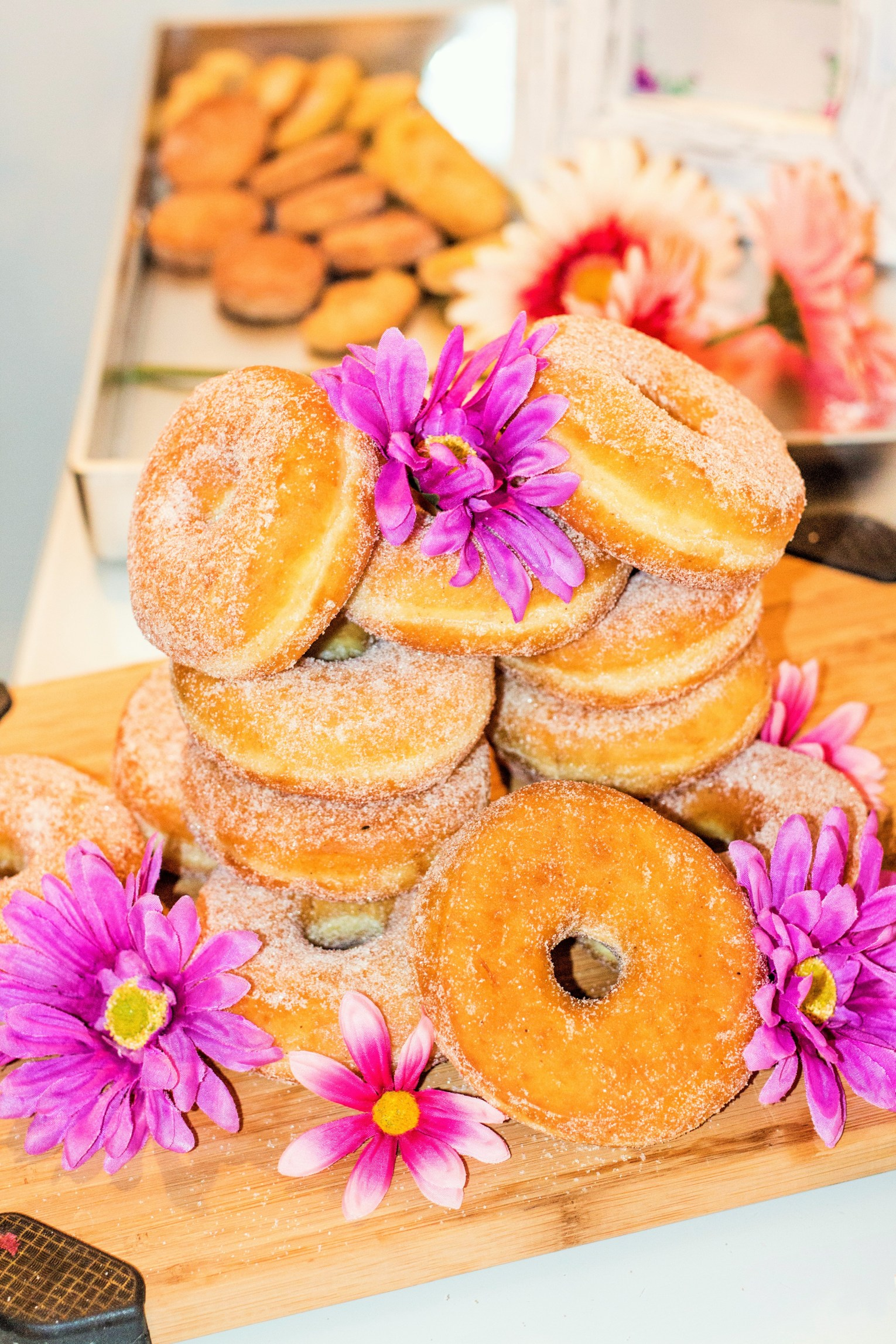 Sugar Donuts and Pink Flowers