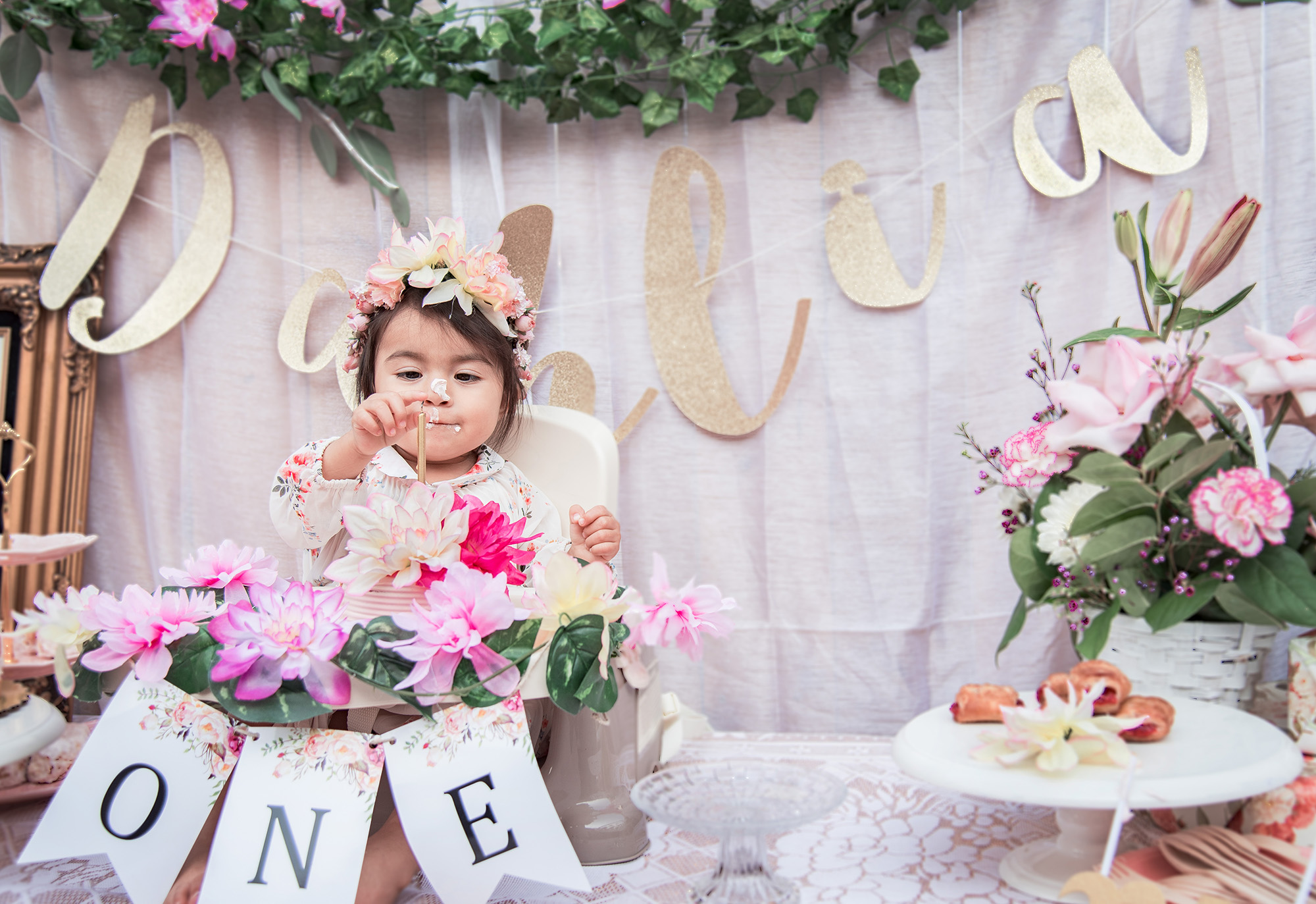 Dahlias floral first birthday party if you are planning a floral birthday party or floral theme celebration please pin your favorite pictures from this post to your pinterest board izmirmasajfo Gallery