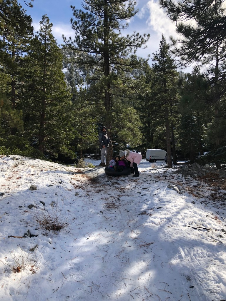 sledding in los angeles mountains