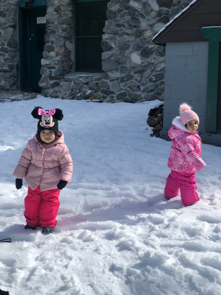 Babies in the snow with pink jackets
