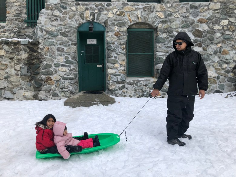 Dad and Daughters in the Snow
