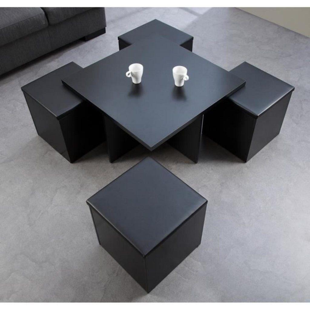 Table Basse Avec Tabourets Encastrables