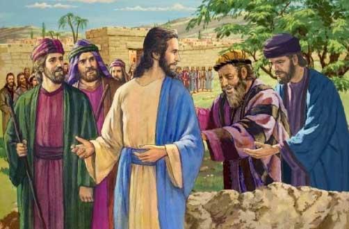 Illustration de la guérison de Bartimée par Jésus