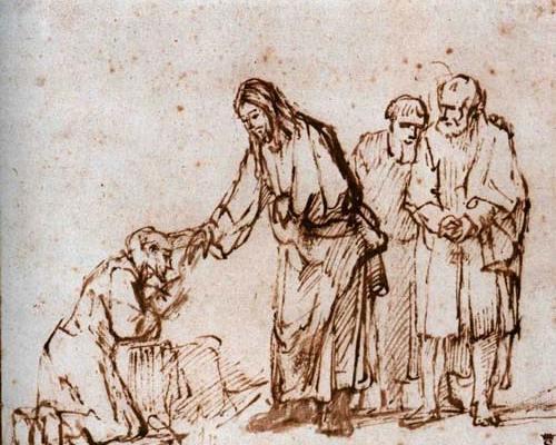 Illustration ancienne de Joshua guerissant un lépreux