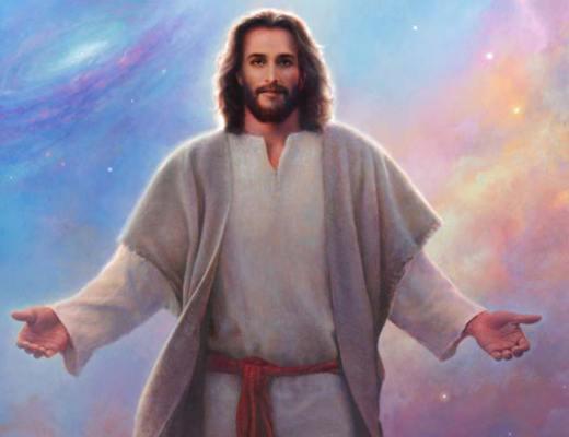 Jésus en contre-jour devant les galaxies