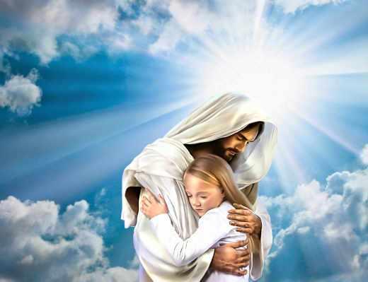 Jésus réconforte une jeune fille dans ses bras