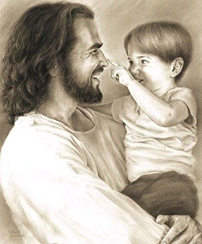 Jésus tient un enfant pour la prière du soir