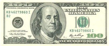 Billet de 100 dollars Benjamin Franklin