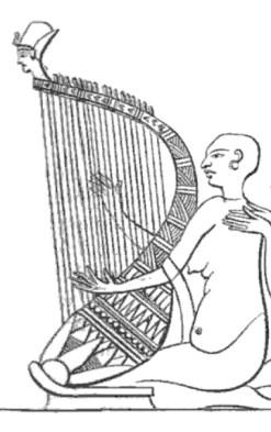 Relief harpiste harpe arquée Louvre