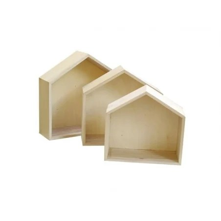 3 etageres maison en bois a customiser