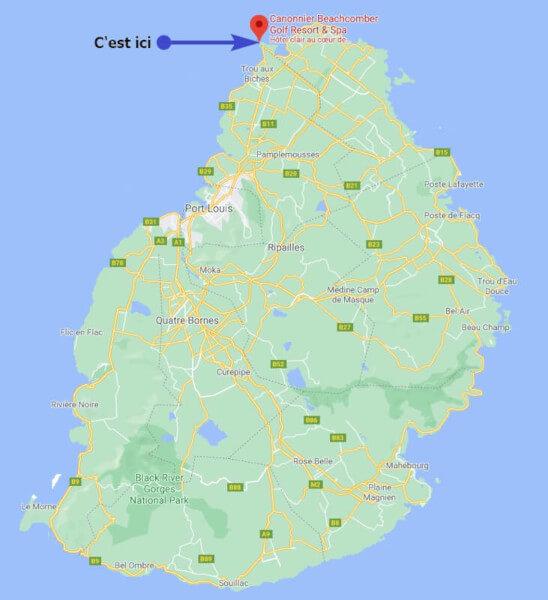 Carte de la situation de l'hôtel le Canonnier