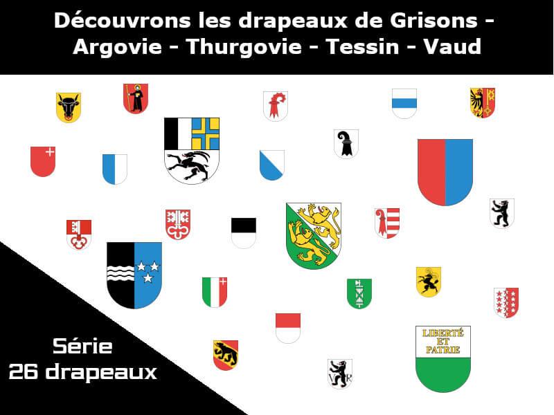 Vignette - Les drapeaux des cantons de Grisons - Argovie - Thurgovie - Tessin - Vaud
