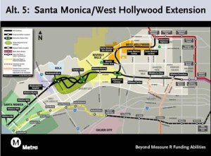 Alignment 5.  Alignment 3 is the same thing for Santa Monica residents, but loses the spur through West Hollywood.