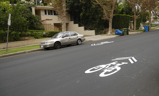 The Westolme Sharrows are back!  Photo: LA Streetsblog/Flickr .   For more information, visit the LADOT Bike Blog