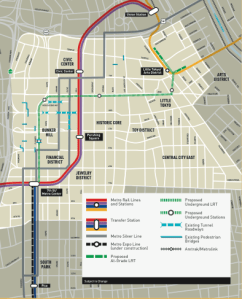 For a more detailed description of the LPA for the Regional Connector, or just a larger copy of this map, download a ##http://www.metro.net/projects_studies/connector/images/Regional_Alts_ENG.pdf##fact sheet for the project from Metro.net.##