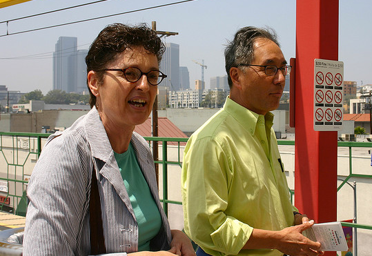 Former Livable Places Executive Director Beth Steckler and Woo at the Gold Line Little Tokyo Station in 2007.
