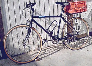 Not grand theft: This bike, with black tires and minus the orange milk crate and U-lock, was stolen from in front of the Bike Oven in Northeast Los Angeles on Saturday.  Photo via Biking In L.A.