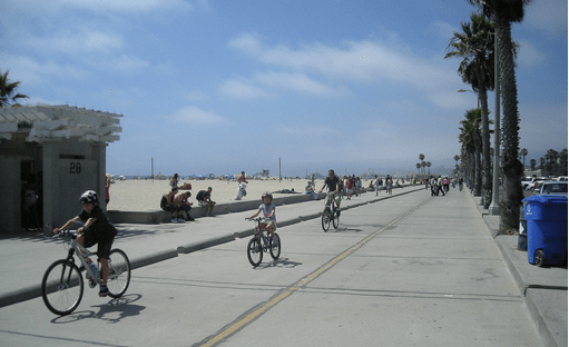 Cruising down the Venice Beach Bike Path.  Photo:##http://www.flickr.com/photos/peggyarcher/4838188860/##Peggy Archer/Flickr##
