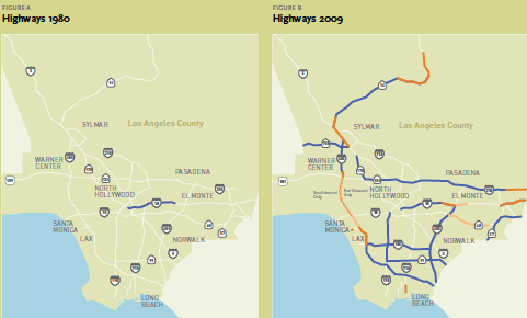 In 1990, when the HOV system looked as it did on the left, 15.5% of commuters carpooled.  The blue lines on the right are the current HOV system, but barely 11% carpool today.  Image: Metro 2009 Long Range Transportation Plan
