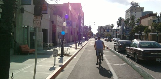 Long Beach's cycletracks open this Saturday - all photos by Joe Linton