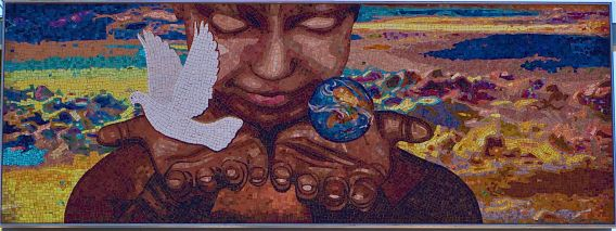 A mosaic designed by the late Willie Middlebrook for the Crenshaw stop of the Expo Line. Sahra Sulaiman/Streetsblog L.A.