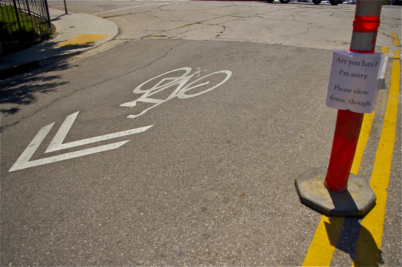 The Department of DIY takes things into their own hands to make streets safer for bikes and pedestrians at Hyperion and Effie in Silverlake (sahra/LA Streetsblog)