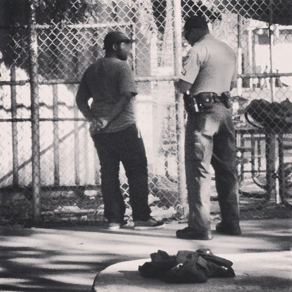 A young man is separated from his friends and questioned by Public Safety for skateboarding near USC. (photo courtesy of the young man in question)