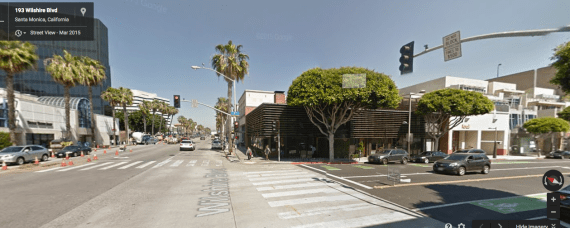Wilshire Boulevard in Santa Monica serves as a border between standard parking requirements (left) and flexible parking requirements (right). Photo via Google Maps.