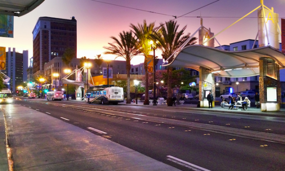 1st Street in Downtown Long Beach. Photo by Brian Addison.