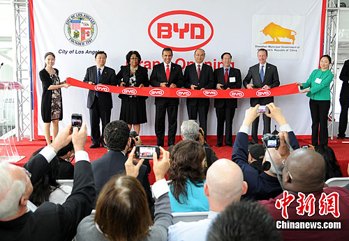 Dignataries from Shenzhen, China, Los Angeles and BYD at the grand opening of their North American Headquarters in L.A. Live. Photo:##http://www.ecns.cn/2011/10-25/3292.shtml##ECNS##
