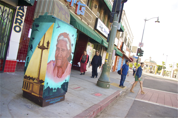 La Abuelita de Boyle Heights is not pleased by the idea of an 8-story parking structure at Mariachi Plaza. Sahra Sulaiman/ Streetsblog LA