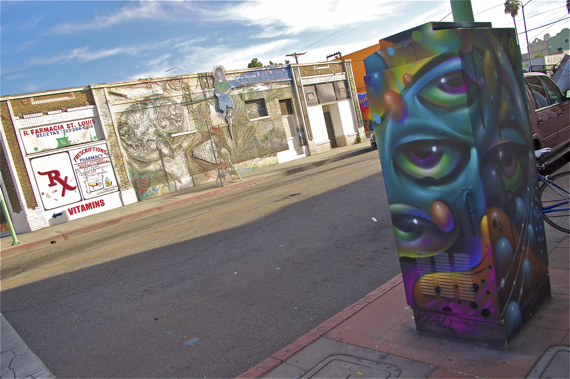 """Vyal One's piece on St. Louis joins two gorgeous murals already there. One on celebrating Boyle Heights (hidden behind the box) and the sadly faded """"Bridges to East L.A."""" by Ernesto de la Loza (http://www.publicartinla.com/LA_murals/Silverlake/bridges.html)"""