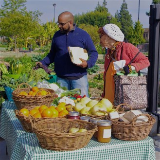 CSU's produce stand outside their urban farm in Exposition Park. Sahra Sulaiman/LA Streetsblog