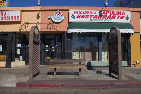 A former bus stop is now just an odd relic in poor condition. Sahra Sulaiman/LA Streetsblog