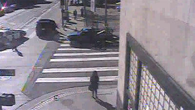 From the Times's security cameras you can see the quickly arriving squad car, the Mayor's SUV but barely the crash victim.