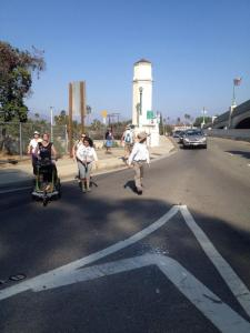 Crossing the street isn't always easy...but joining Metro's TAC can be impossible for regular citizens. Unless they're employed by AAA. Photo:##http://www.losangeleswalks.org/join-our-call-to-action-for-the-hyperion-bridge/##L.A. Walks##
