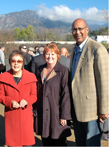 State Senator Carol Liu, Arcadia Mayor Mary Ann Lutz and Holden at the opening of the Gold Line Arcadia Overpass. Image: ##http://asmdc.org/members/a41/news-room/photo-album##Office of Chris Holden##