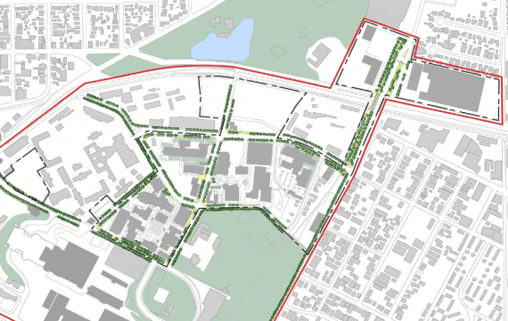 Trees, pedestrian lighting, enhanced sidewalks, and USC gateways (red and yellow flowers and markers announcing USC entrances) are planned. Source: USC HSC Master Plan