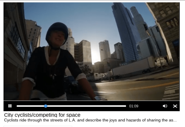 Cue the foreboding music, someone's on a bke! Screen capture of L.A. Times #RoadshareLA video - click to view at Times website
