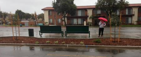 New bus stop seating on Woodman Avenue. photo: Joe Linton/LA Streetsblog