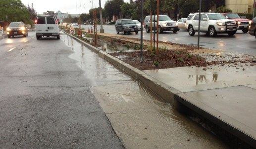 Downstream end of Woodman Avenue project where excess runoff leaves the swale and enters a storm drain. photo: Joe Linton/LA Streetsblog
