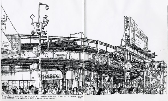 Drawing of Bronx streetscape with elevated subway tracks, 2013
