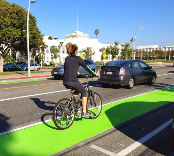 New green bike lanes in front of Santa Monica City Hall - photo: Richard McKinnon via fb