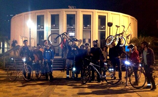 Pomona cyclists celebrate the passage of the city's first Active Transportation Plan. photo: Twitter @PVBike