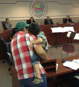 Salvador Valentin, of Bikesan@s del Valle collective, and his son Isaac testify in support of the Pacoima Wash Bikeway. The San Fernando City Council approved moving forward with pursuing state funding for the project.