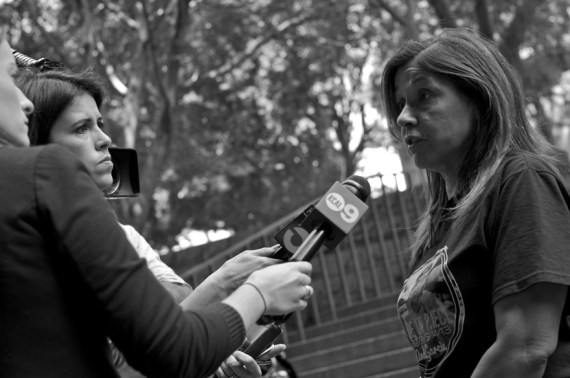 Carmen Tellez, mother of hit-and-run victim, speaks to local news outlets following the sentencing hearing for Wendy Villegas. Sahra Sulaiman/LA Streetsblog