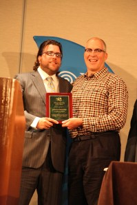 Newton and Linton (who presented Damien with the award) at the SPJLA Awards dinner last night. Photo Dawn Newton