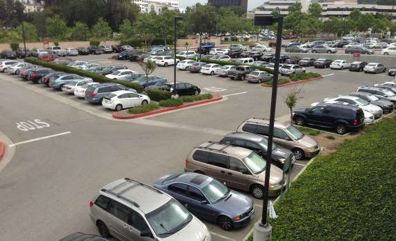 Parking lot at Metro's Universal City Red Line Station. Most spaces are free to the driver, but several hundred monthly permit spaces will see a rate increase this July.