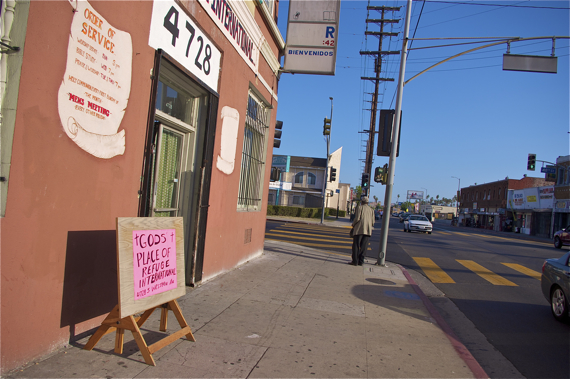 Sin and redemption. Despite it's long-standing status as a stroll, Western Ave. has at least two churches on almost every block. Sahra Sulaiman/LA Streetsblog