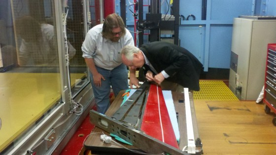 Kim Aaron and Emilio Graff Study a wing at the Lucas Wind Tunnel at Caltech